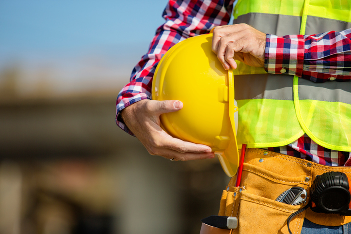 Construction worker and hard hat
